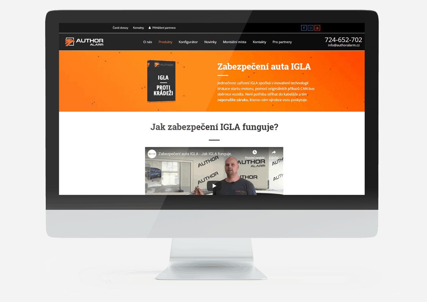 Webová stránka nad úrovní monitoru