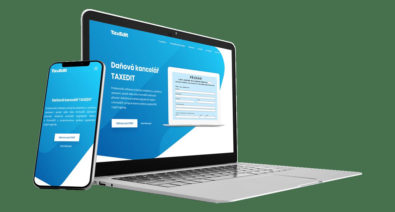 Responzivní zobrazení redesignu notebook a mobil